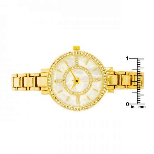 CLASSIC METAL WATCH WITH CRYSTALS, TW-15305-GOLD